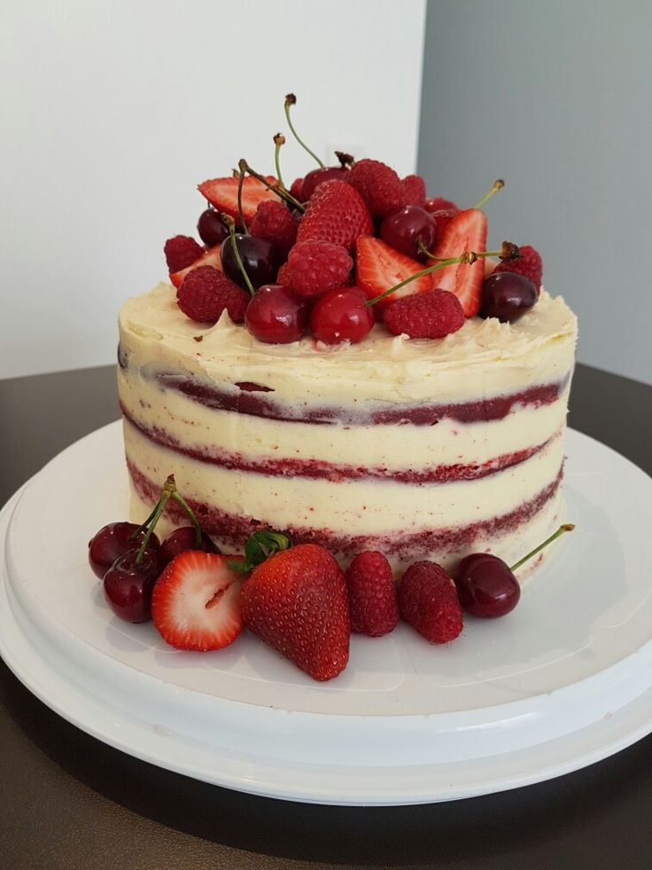 Naked Red Velvet Cake, Cream cheese frosting & Summer fruits. Fresh Raspberries, Strawberries & Cherries