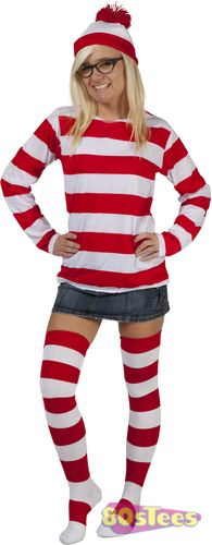 For the Ladies trying to stay hidden all you need to do is put on the Where's Wenda Hat, Shirt and Glasses and have everyone look for you and your Waldo while wearing our Where's Wenda costume!