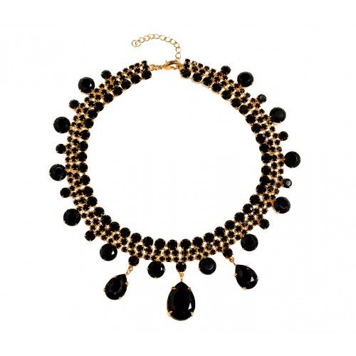 "Elegant Malina's gold plated necklace glitters with black bohemian crystals. Wear this statement piece to transform everything from a cashmere sweater to a cocktail dress.    Details: - Gold plated - Length 14.50"" , extension 3.00""  - Made in EU  - Bohemian crystals"