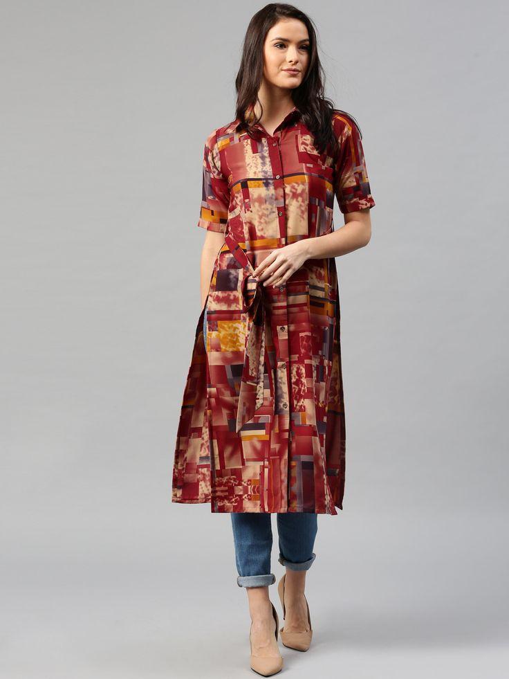 Libas Maroon Cotton Printed Shirt Style Kurta #Maroon  #Cotton  #Printed  #Shirt Style