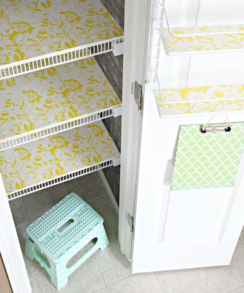 line pantry shelves with foam board and pretty liner:  IHeart Organizing: Kitchen Pantry Update: Part 2