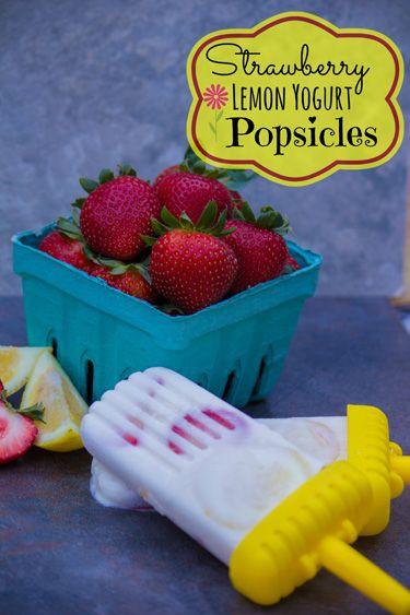 Strawberry Lemon Yogurt Popsicles Title Strawberry Lemon Yogurt Popsicles