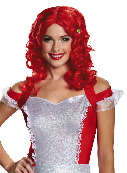 Adult Strawberry Shortcake Red Curly Wig - This officially licensed Strawberry Shortcake adult wig is BERRY cute! Tee hee! It is a shoulder length wig featuring side swept bands and a two-tone colour. There is a sweet strawberry attached to the wig that is sewn on, so it could be removable. Complete your Strawberry Shortcake costume this Halloween! Grab all your friends like Lemon Meringue or Blueberry Muffin to have a fun party!