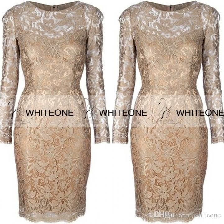 100% Real Picture 2016 Lace Mother Of The Bride Dress Long Sleeves Knee Length Sheath Women Formal Occasion Gown Evening Prom Party Wears