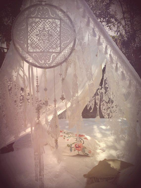 Boho Tent Wedding Dreamcatcher lace hippiewild Decor by HippieWild