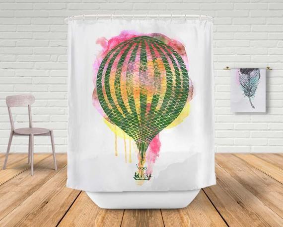 Heißluftballon Duschvorhang, Badezimmer Dekor, bunte Bad Vorhang, Aquarell Vorhang, einzigartige Wohnkultur, Art Duschvorhang SWap106   – StudioDLifeStyle