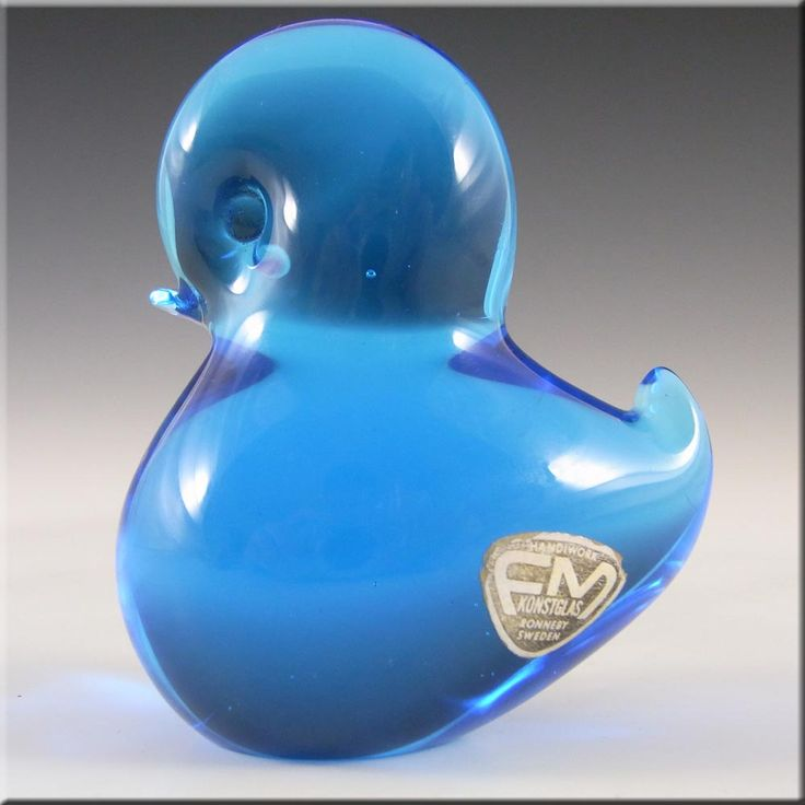 FM Konstglas/Ronneby Swedish Blue Glass Bird - Labelled - £19.99