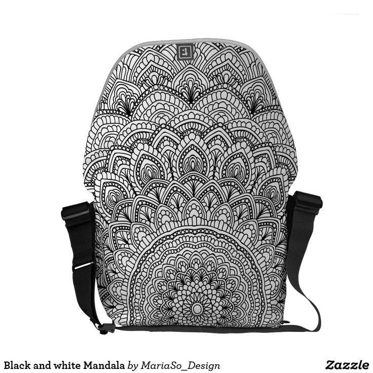 Black and white Mandala Courier Bag