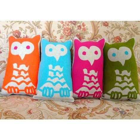 | hand printed fabric | hand made fabric toy owl | Kristen Doran design via ecobella.com.au