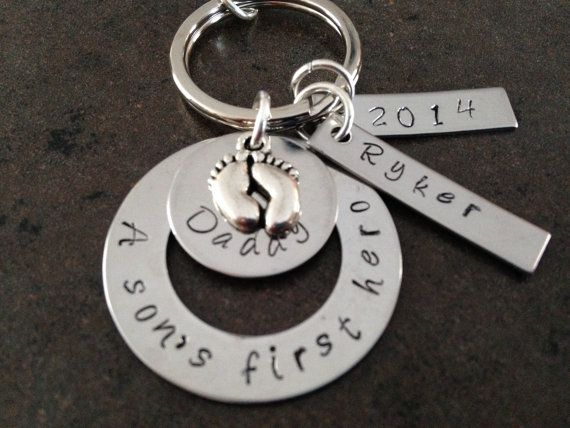 Father Dad Daddy Custom Hand Stamped Personalized Stainless Steel Keychain