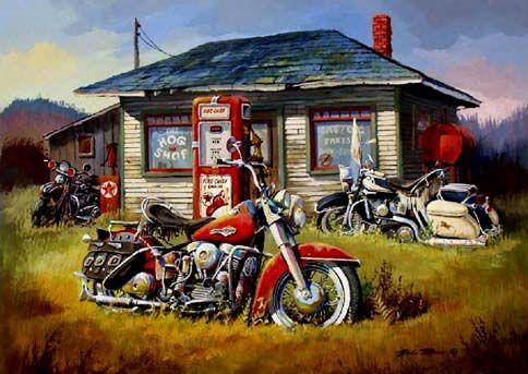 11647 - HARLEY-DAVIDSON - Pintura - 3 Motos  no Posto de Petróleo - 41x29-