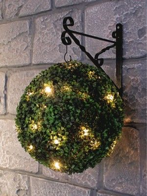 Solar Powered Topiary Ball with LED Lights....make your own just by adding leds to a ball then planting with hens and chicks????