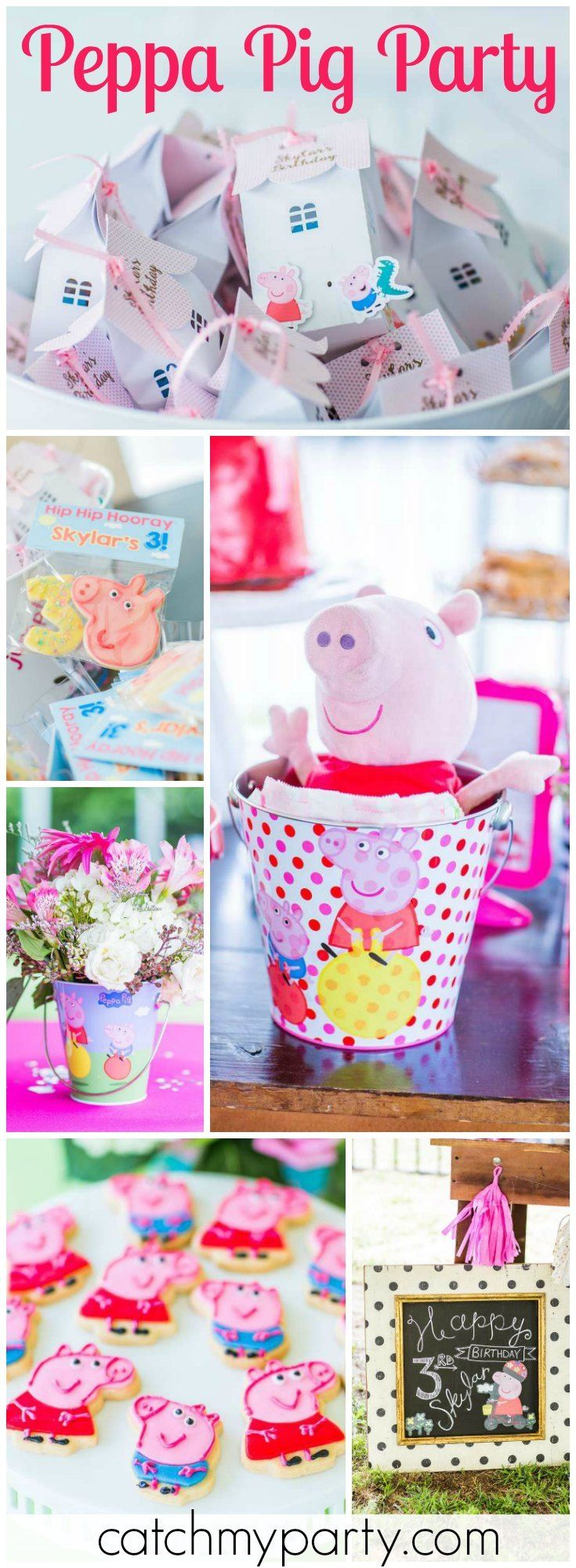 What a fun pink Peppa Pig girl birthday party! See more party ideas at Catchmyparty.com!