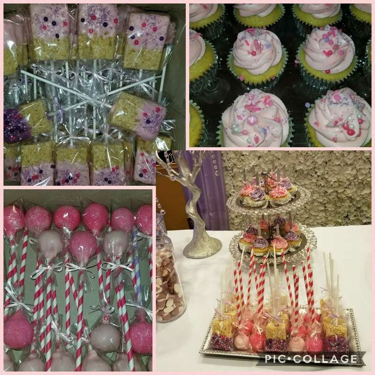 Pink Vanilla Cupcakes..Cake Pops..Rice Crispy Pops for 1st birthday parth