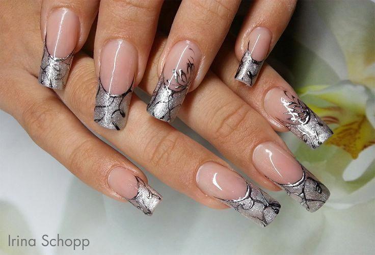 french nails silver Tip #americanfrenchnails nageldesign schlicht