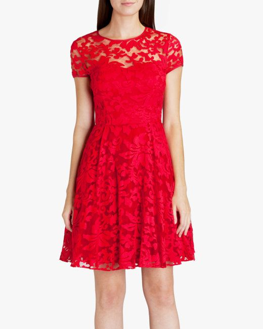 Sheer floral dress - Red | Dresses | Ireland Site