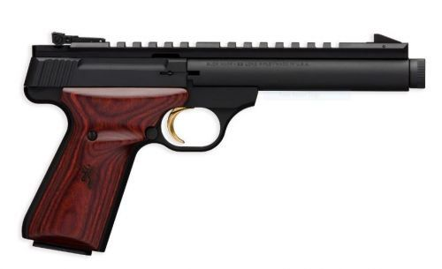 Browing's Buck Mark Field Target pistol is caliber in 22LR and has a 10+1 round magazine. It is made of Alloy with a Matte black finish with a heavy round bull, suppressor ready threaded barrel finish