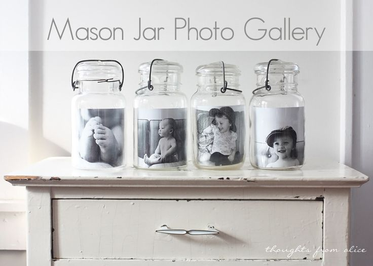 What will they think of next? An adorable, easy mason jar photo gallery.