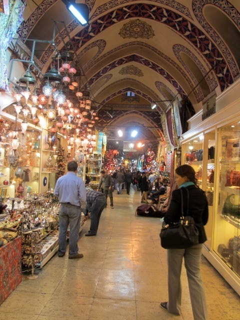 Lots of people and lots of shops, at the Grand Bazaar