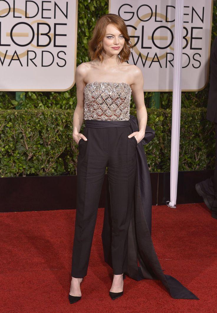 Emma Stone w kombinezonie Lanvin  #kombinezon #EmmaStone #Lanvin #outfit #moda #fashion