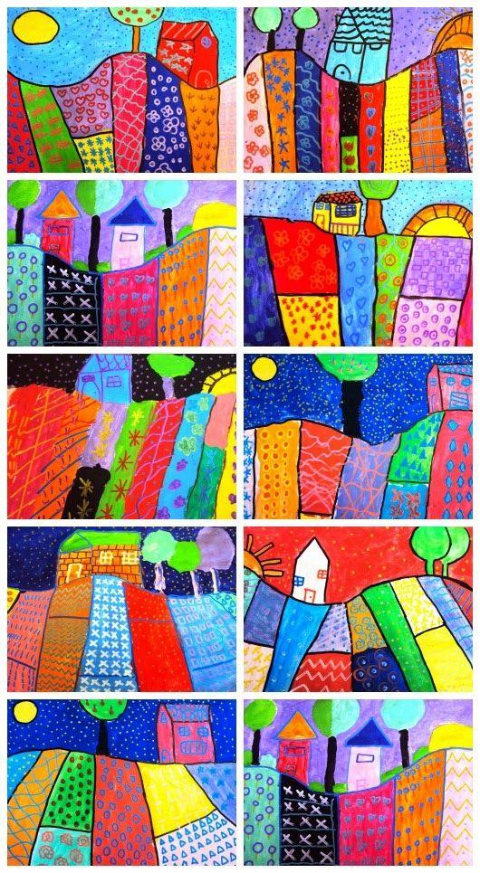 by Heather Galler; patchwork pattern landscape