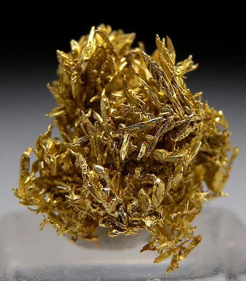 NA543 - Gold $ 145 SOLD Olinghouse Mine, Washoe Co., Nevada thumbnail - 1.5 x 1.3 x 0.7 cm - Dense cluster of spikey Gold crystals. At 1.4 grams, this specimen has about $75 of Gold bullion value.