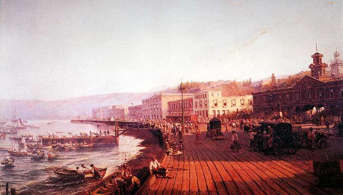 """""""Muelle de Valparaiso"""", de Thomas Somerscales, 1842 -1927"""