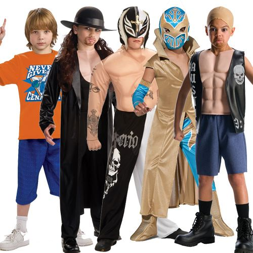 Child WWE Fancy Dress Muscle Chest Costumes Mask Outfit New Wrestler Kids WWF | eBay