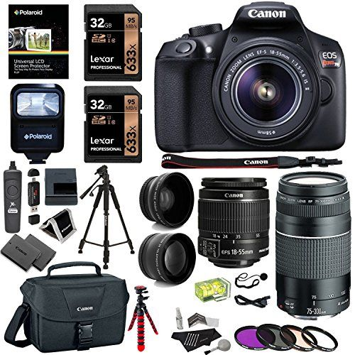 Canon EOS Rebel T6 DSLR Camera Kit EF-S 18-55mm IS II Lens EF 75-300mm III Telephoto Lens Polaroid Wide Angle Telephone Lens and Accessory Bundle