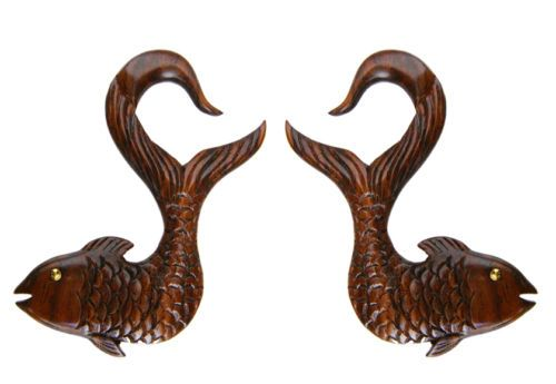 Pair-Koi-Fish-Hand-Carved-WOOD-GAUGES-Tunnels-Plugs-Ear-Lobe-Brass-Brown-spiral