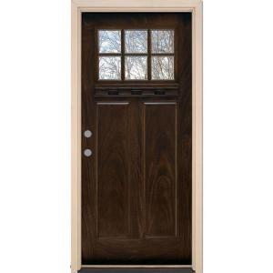 Feather River Doors 6 Lite Craftsman Chestnut Mahogany Fiberglass Entry Door Ff3791 At The Home