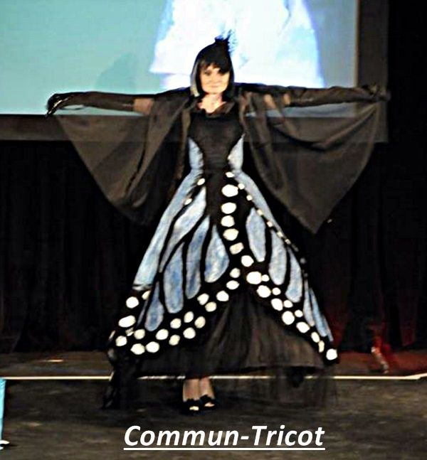 felted butterfly gown by Marie-France Milette for Commun-Tricot....fashion show l'Evenement Mode Audace, St-Hyacinthe, Quebec