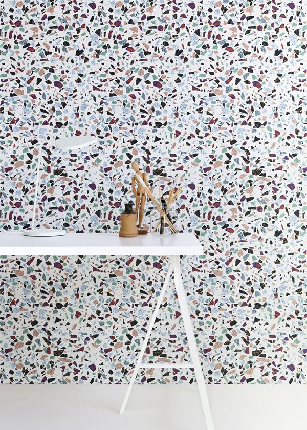 La Maison d'Anna G. Wow this is an impressive terrazzo wall that combines colorful aggregates.