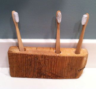 Wooden Brush Holder