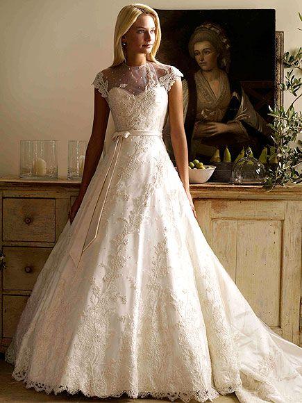 Phillipa Lepley - sweeping ballgown with elegant embroidery and modest sheer neckline #wedding #weddingdress