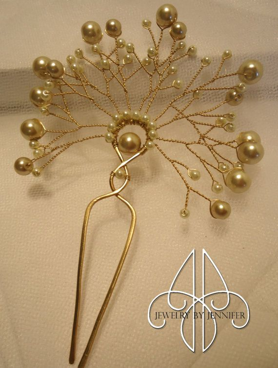 Wire and Bead Spray Bridal Hair Pin with Champagne Pearls, Bridal Hair Fork, Hair Accessories for Brides, Bridesmaids or Flower Girls