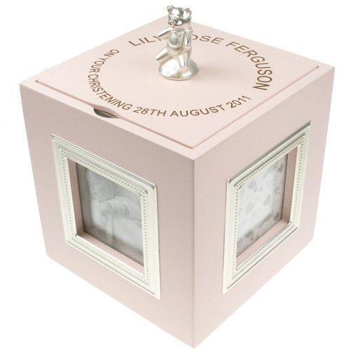 "A delightful present for a Christening or Newborn Baby Gift.  The music box plays ""Twinkle, Twinkle Little Star"" and is activated by turning the cube clockwise whilst it is resting on a flat surface.  The lid of the keepsake box has a little teddy which is also the handle for the lid.  The interior is felt lined as is the base."