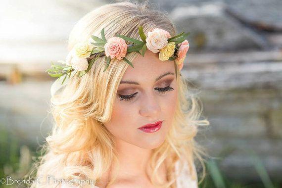 Flower Crown - headpiece - bridal headpiece - sola flower headpiece - flowergirl headpiece - prom headpiece - flower crown - floral crown