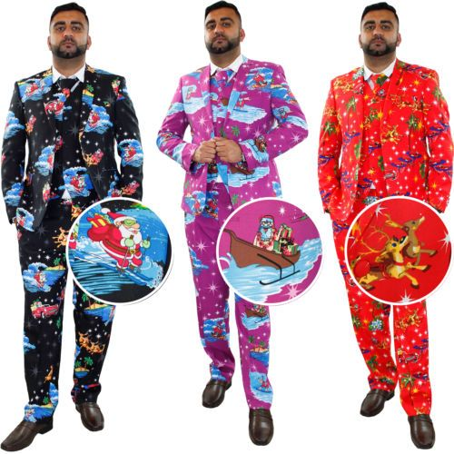 New-Mens-Christmas-Fancy-Dress-Novelty-Print-Deluxe-Festive-Costumes-Casual-Suit