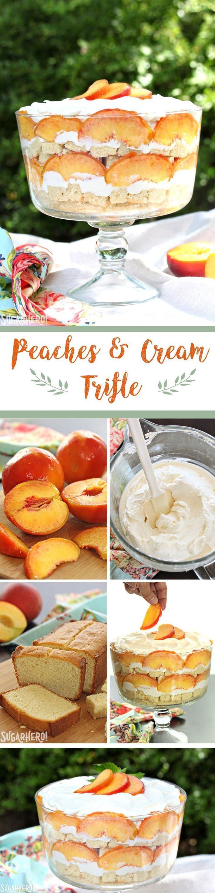 Peaches and Cream Trifle - an easy summertime dessert that's bursting with flavor! You'll love this combination of pound cake, fresh peaches, and whipped cream | From SugarHero.com