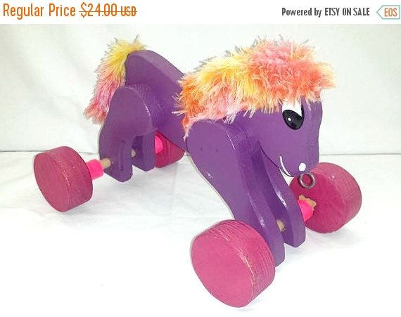 Vintage Wooden Pull ToyWood Pull Toy Horse Pull by JunkYardBlonde