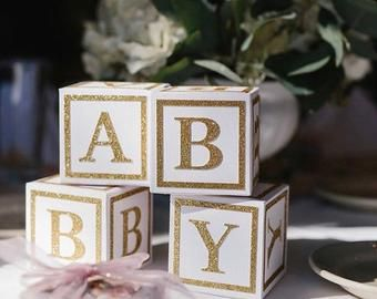 Baby Showers Twinkle Alphabet Block Centerpiece 8 inch block Single Baby Shower | Etsy
