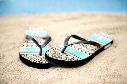 MUK LUKS Pattern Flat & Wedge Flip Flops 40-42% off on #SheSteals