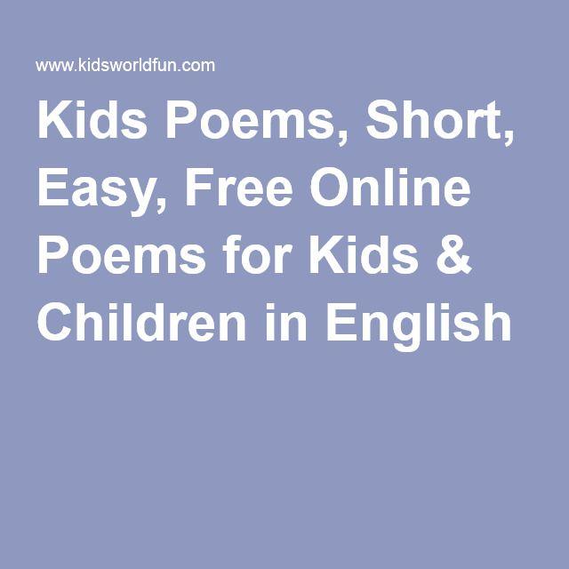 Kids Poems, Short, Easy, Free Online Poems for Kids & Children in English