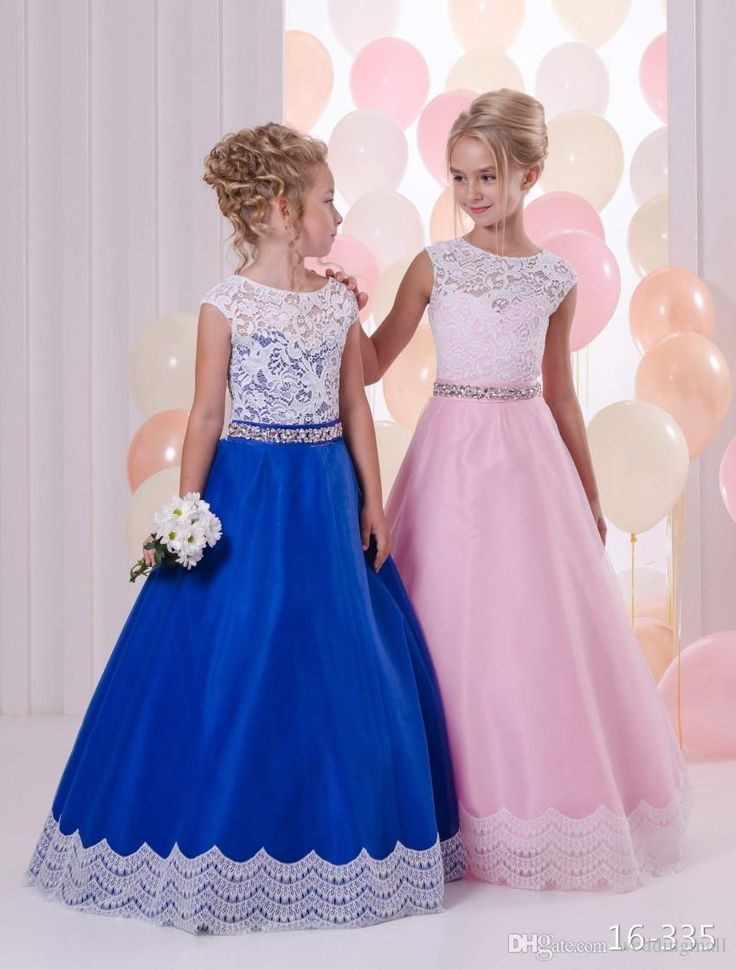 Trendy  Crystals Lace Colorful Tulle Flower Girl Dresses Vintage Child Pageant Dresses Beautiful Flower Girl Wedding