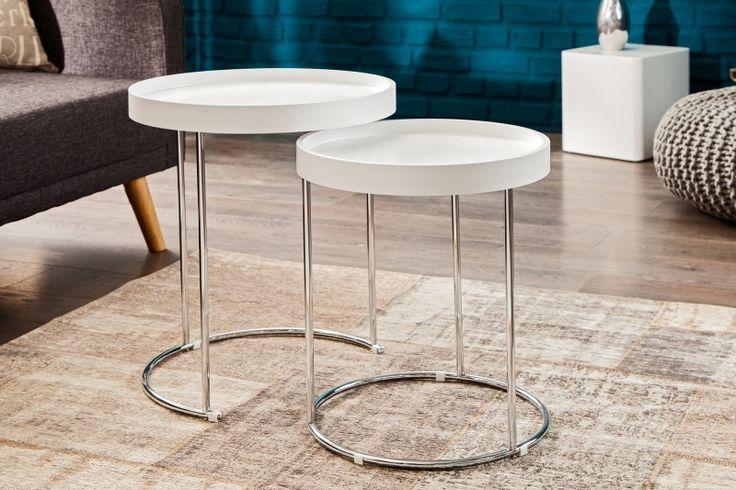 Praktyczny i gustowny stolik z serii Dane w wersji 2-częściowej o różnych wysokościach. Wykonany z płyty mdf  wspartej na metalowych obręczach. Stolik idealny do każdego salonu, doskonale sprawdzi się jako stolik-pomocnik do przechowywania, odstawiania czy serwowania.