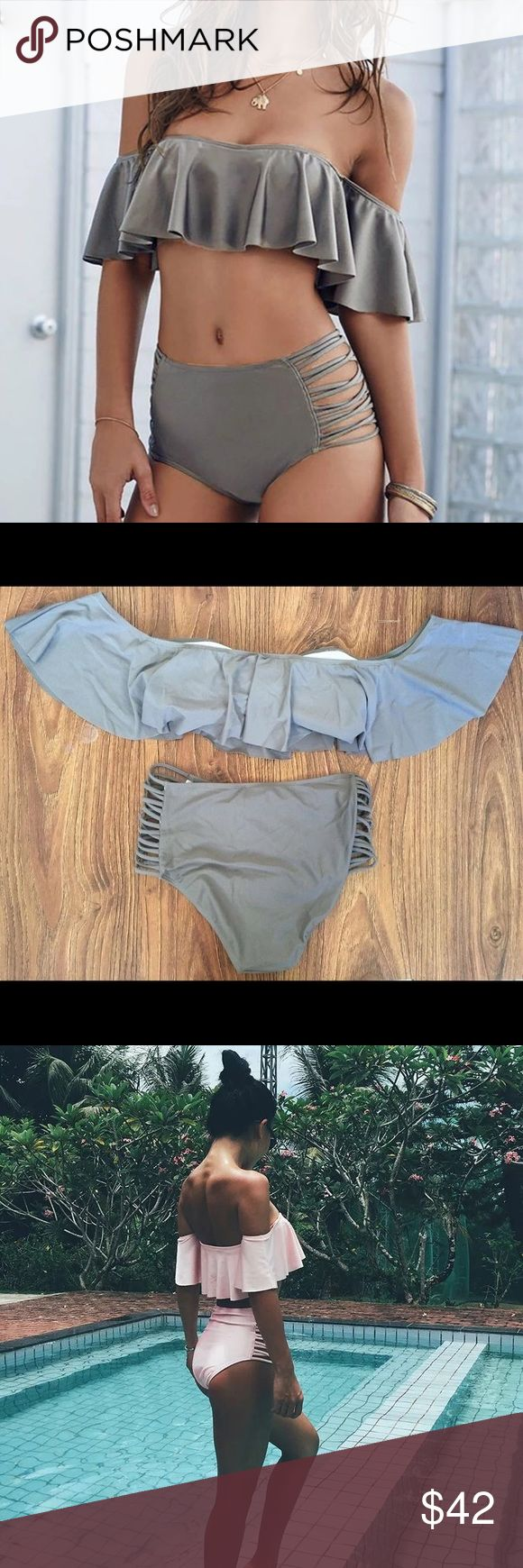 Off The Shoulder Swimsuit I have my best selling swimsuit now in grey!!! These always go fast so snatch it while you can! The bottoms are high waisted and the top is padded. Fits true to size. Swim Bikinis