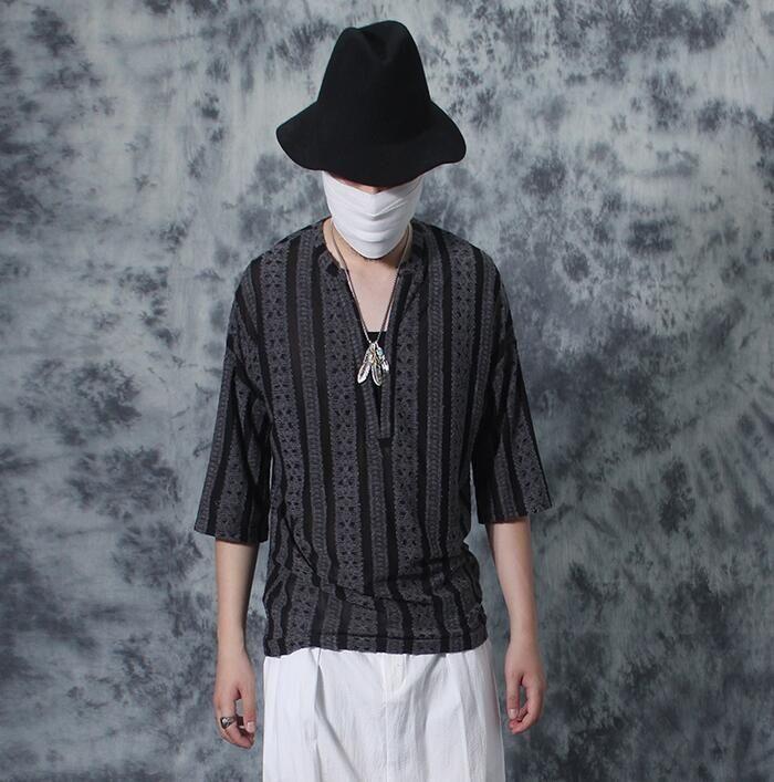 Summer thin male loose short-sleeve V-neck basic t shirt men personalized  vintage 7071751002