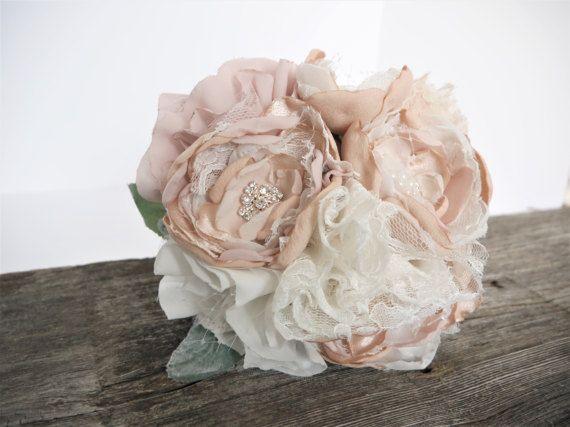 Romantic Fabric Flower Bouquet Brooch Bouquet by HeirloomandOak