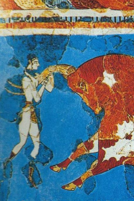 Minoan fresco, love this culture, they would jump the bulls- wall is treated with lime and plaster becomes permanent part of surface- earliest were created by minoans in Crete